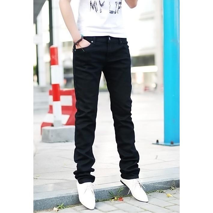 秋 韓范男裝藍黑色鉛筆修身牛仔褲