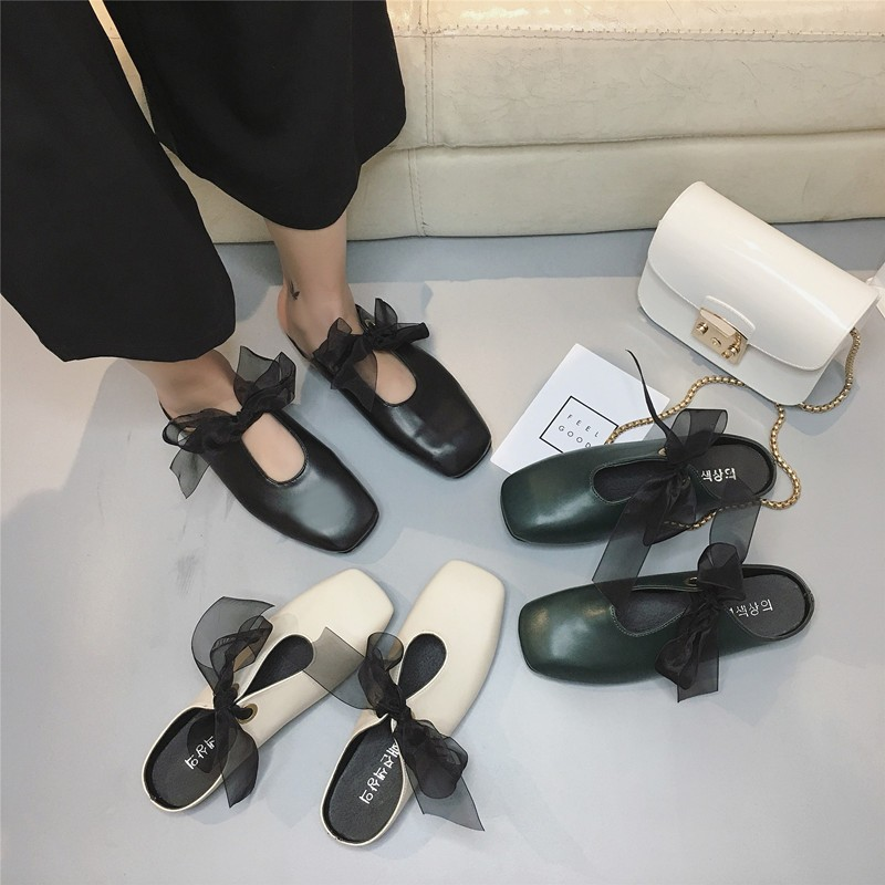 中春夏 方頭絲帶平底蝴蝶結半拖瑪麗珍奶奶簡約氣質復古單鞋
