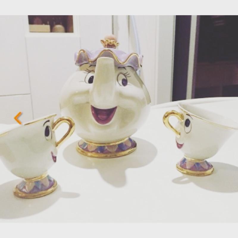 Disney 美女與野獸陶瓷茶壺茶杯組茶壺太太阿齊杯子