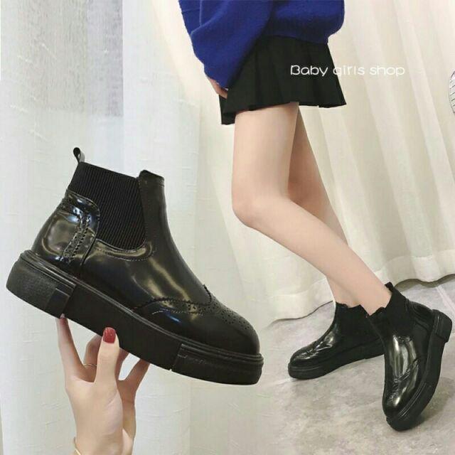 布洛克雕花皮短靴英倫風厚底馬丁靴