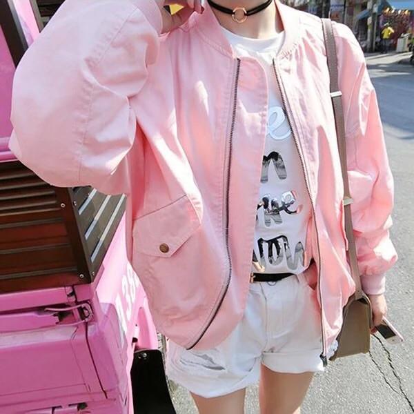 ✨粉紅色飛行外套✨2016 女裝 粉色拉鍊小圓領長袖夾克棒球服外套上衣夏裝OSY137 學