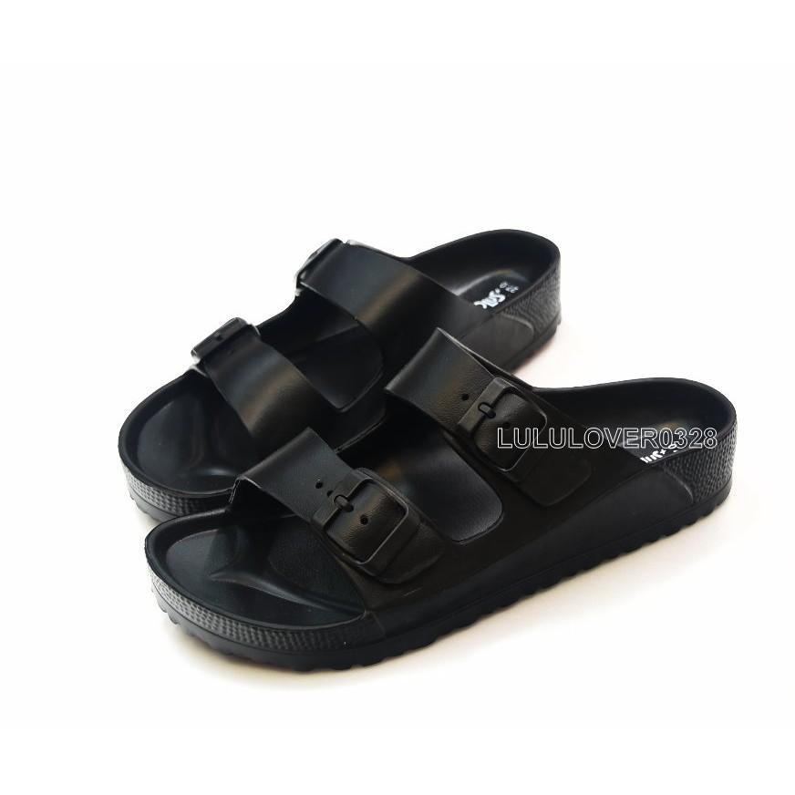 男款一體成型防水平板 休閒勃肯拖鞋Q 彈EVA 中底耐磨止滑厚度2 5 公分黑色