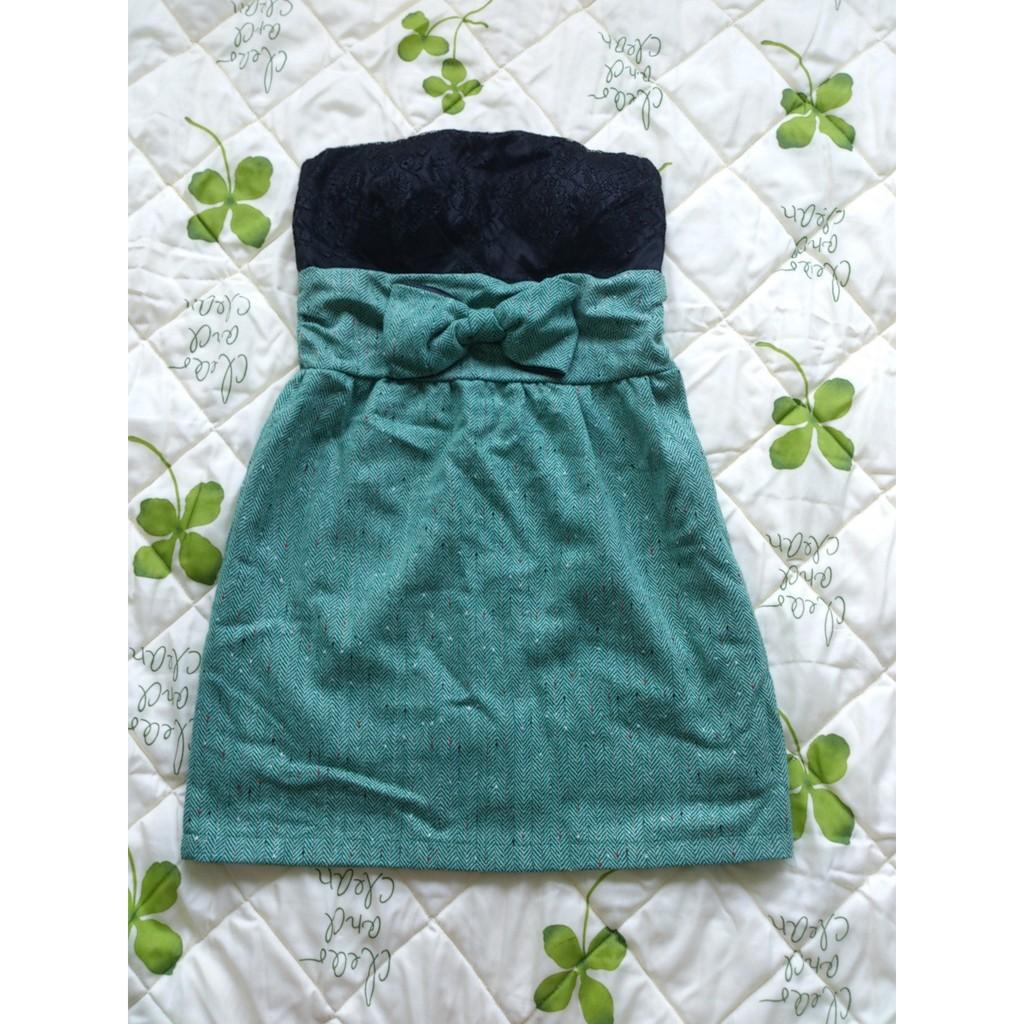 黑色綠色拼接短洋裝蕾絲平口露肩小禮服胸口有蝴蝶結小洋裝假兩件連身裙