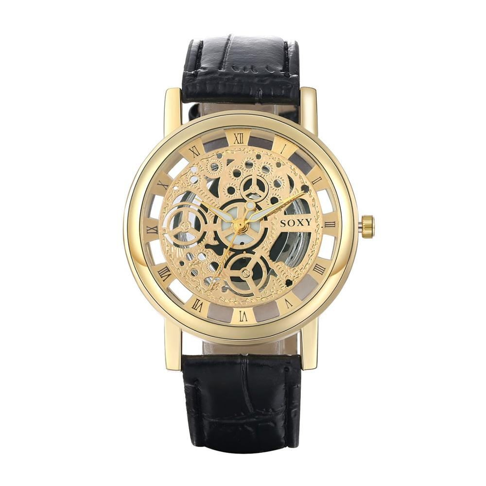 2016 年新奢侈品 SOXY 男士 黃金鏤空骨架皮革錶帶石英手錶