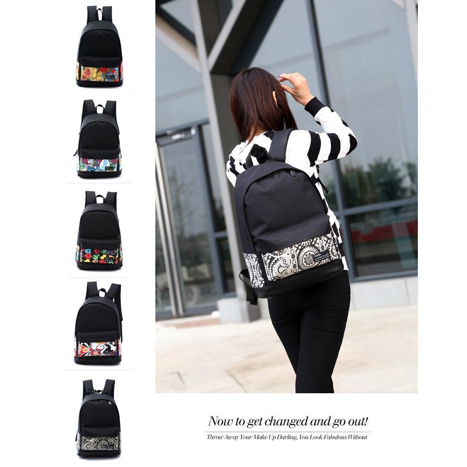 背包~印花圖案~ 潮流學院風帆布雙肩包後背包旅行包