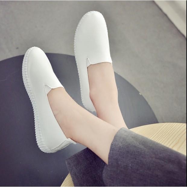 百搭透氣白色樂福鞋平底皮面一腳蹬女鞋懶人鞋學生淺口小白鞋