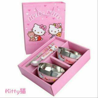 Hello Kitty 哆啦a 夢小熊維尼卡通不銹鋼碗 可愛飯碗湯碗兒童餐具套裝Q30