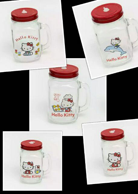 大米米雜貨 Hello Kitty 玻璃杯梅森杯公雞杯吸管杯