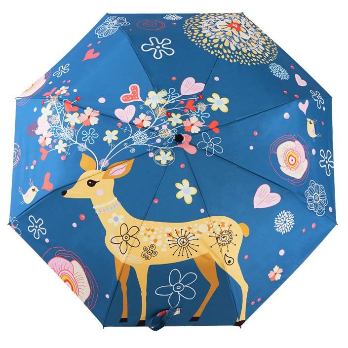 秒出抗UV 防風高 Trip Shop 愛旅行 遮陽傘晴雨兩用花開小鹿三折銀膠層防曬防紫外