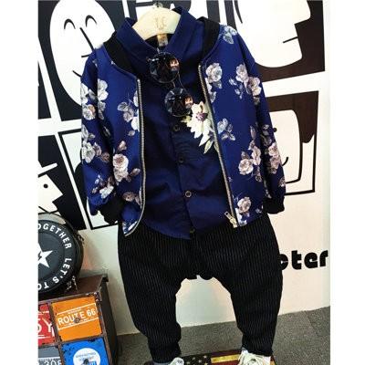 ღ瑪琪朵小舖ღ2016  男童韓系型男復古花朵金屬拉鍊夾克外套 585