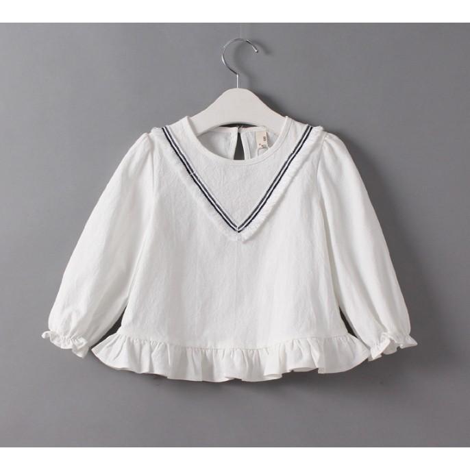 ~Mr Soar ~E207  韓國style 女童V 型流蘇領燈籠袖長袖上衣