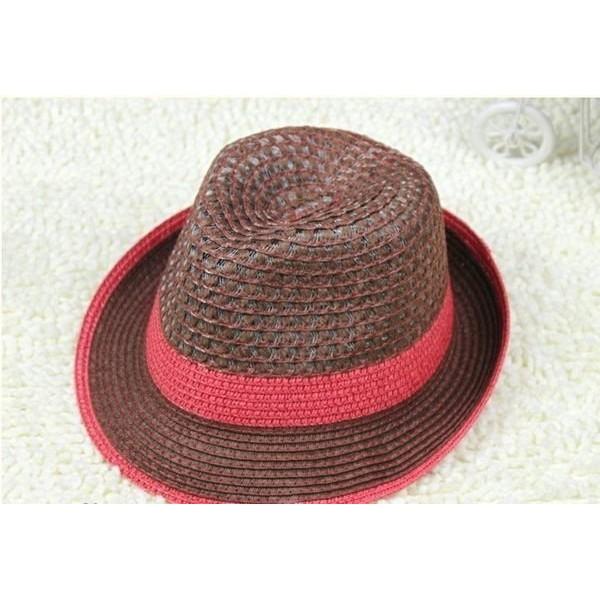 韓國 款雙色魚線編織工法鏤空禮帽爵士帽草帽遮陽帽K039