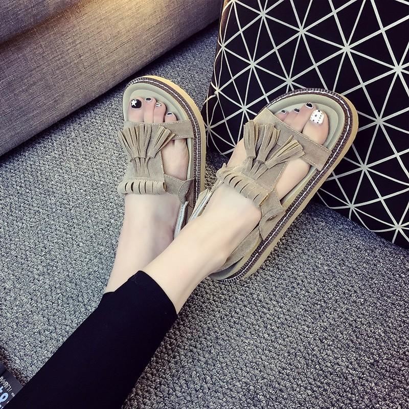 妙侶2016 新品真皮涼鞋女夏平底學生流蘇涼鞋軟底厚底魚嘴鞋 潮