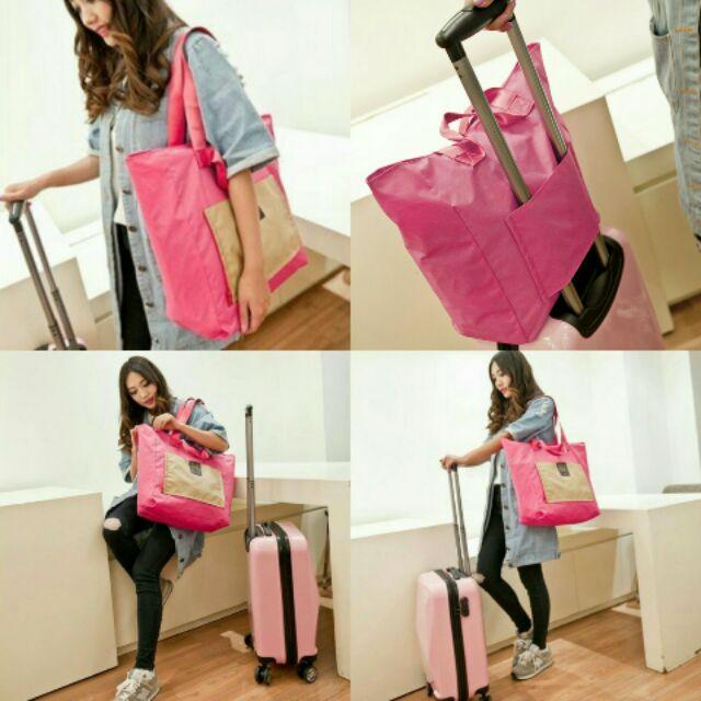 ~ ~多色可摺疊方便收納旅行包手提包大容量行李袋行李包短期出差袋防水套拉桿箱(可套在行李箱