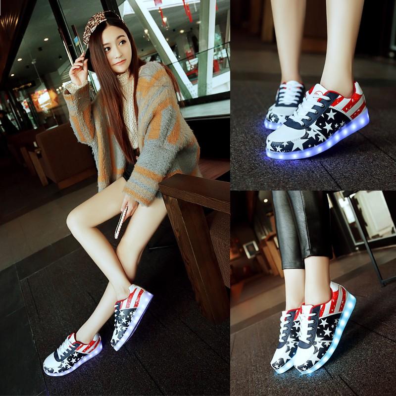七彩LED 發光鞋 情侶夜光鞋USB 充電螢光男女休閒春夏閃光燈板鞋