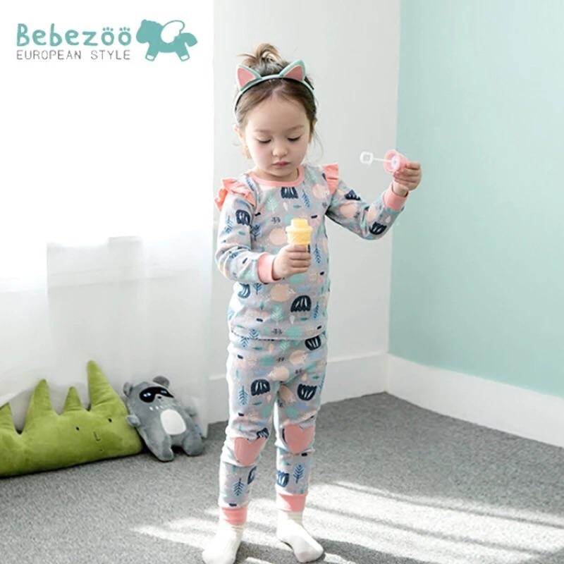 ⛱ ⛱韓國Bebezoo 女童 款小花公主袖純棉長袖家居服睡衣套裝