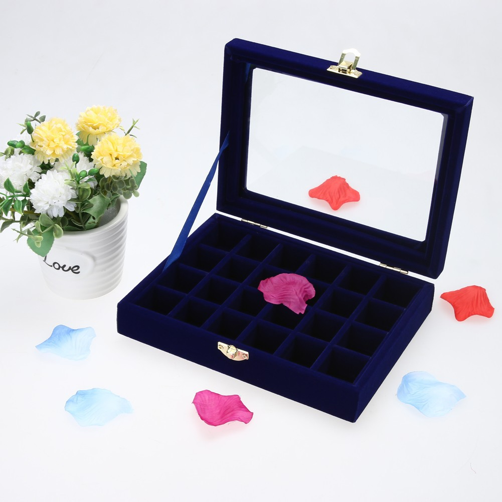 居家收納飾品盒絨布小號24 格珠寶箱耳釘珠寶收納箱首飾展示盒泡沫盒包裝