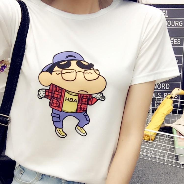 2017  女裝短袖卡通印花T 恤女模特實拍