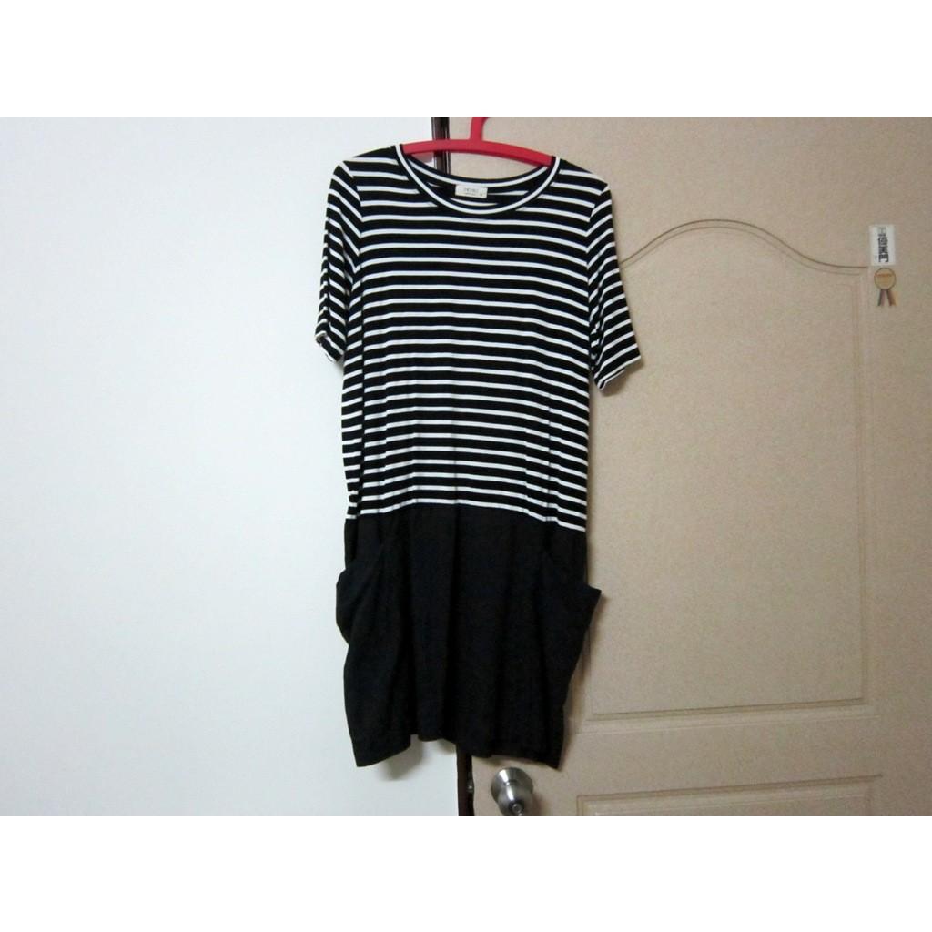 MO BO 黑白條紋棉短袖口袋連身洋裝