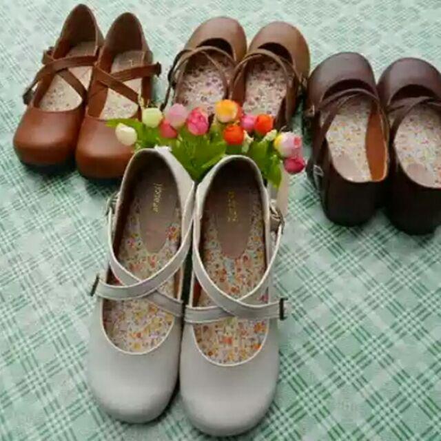日系娃娃鞋学生演出小皮鞋森女系搭扣小清新平底可爱圆头女鞋
