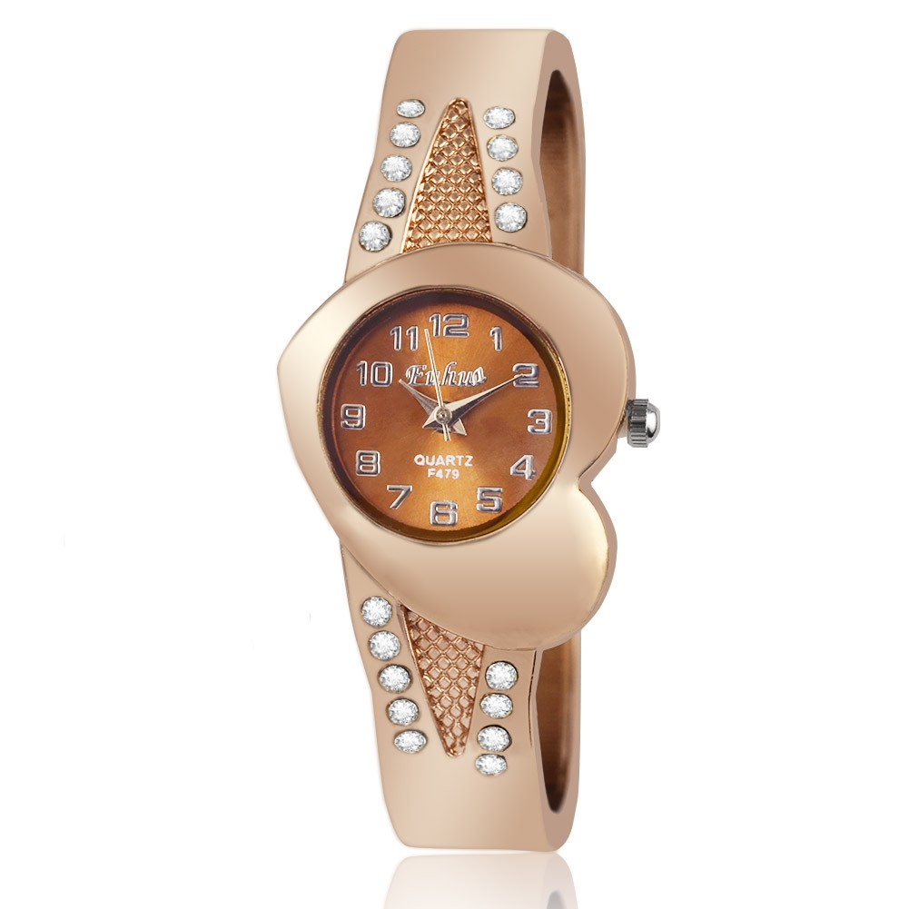 2016 年新 女性玫瑰 英手錶女士愛心錶盤數字手鐲表