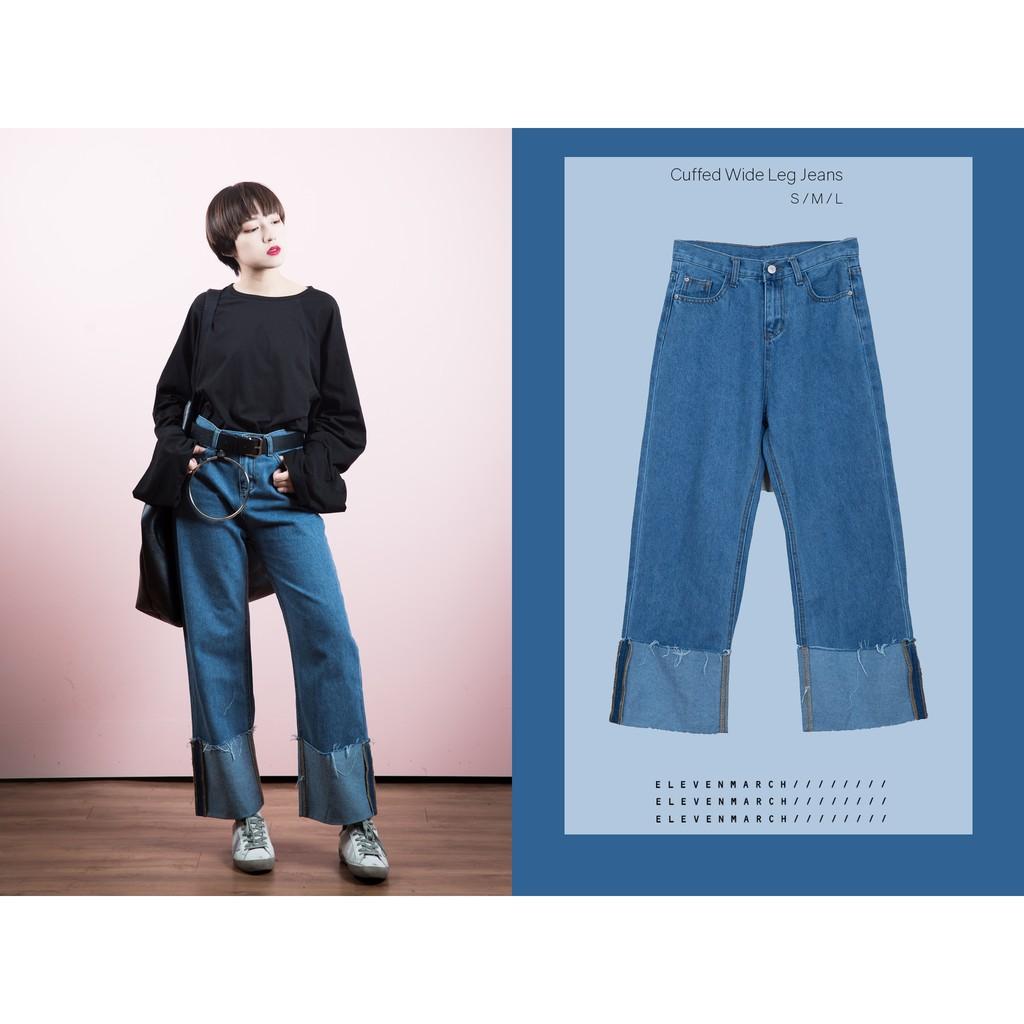 高腰大反折牛仔寬褲Cuffed Wide Leg Jeans S M L