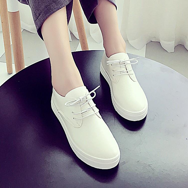 ~♪巴黎春天~春夏 系帶小白鞋 女鞋皮面帆布鞋平底白色百搭板鞋 單鞋懶人鞋涼鞋厚帶鞋厚底鞋