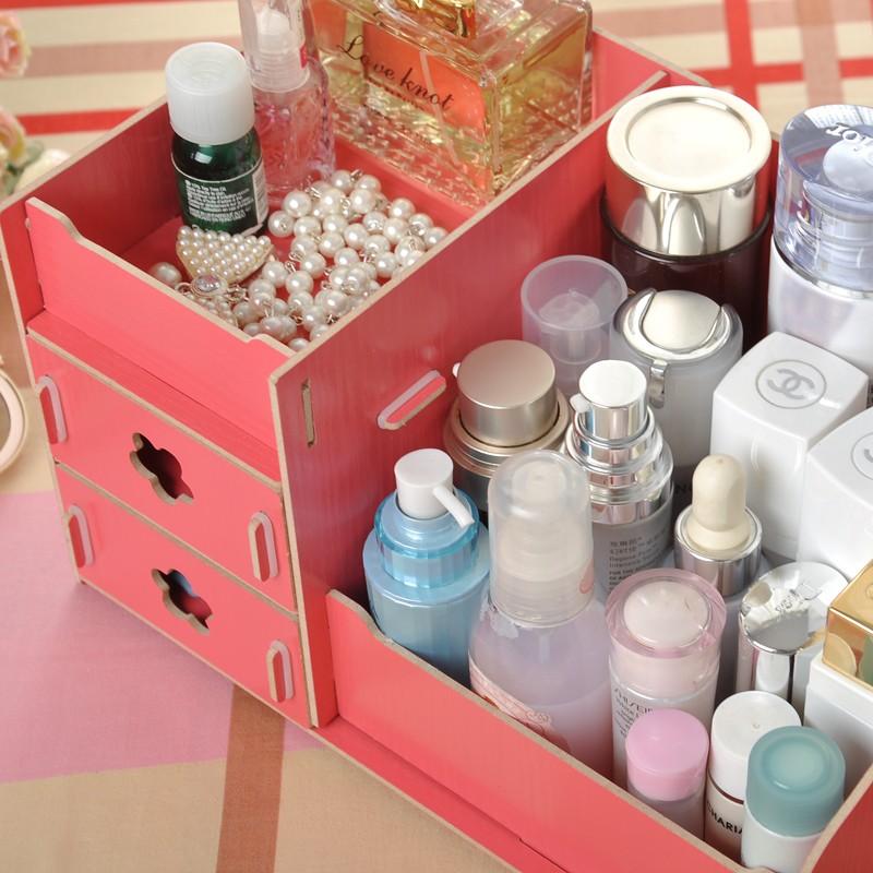 木製DIY 拼裝化妝品收納箱多用途收納盒木質收納盒DIY 木質桌面化妝品收納K1 同款大号