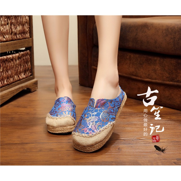 尼泊爾工藝大頭娃娃鞋 亞麻編織繡花金絲閃亮松糕厚底草編拖鞋