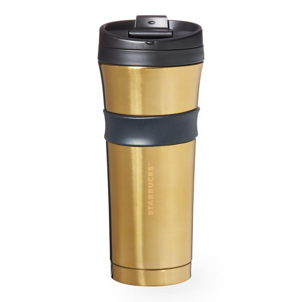 美國星巴克黑環亮金不鏽鋼隨身杯不鏽鋼杯隨身杯保溫杯保溫瓶杯子咖啡杯陶瓷杯Starbucks