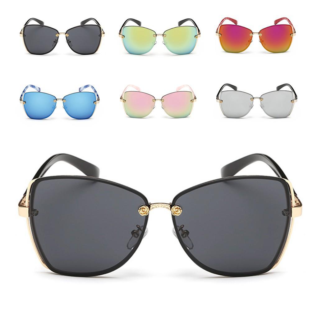 復古平鏡金屬框架女士室外太陽眼鏡