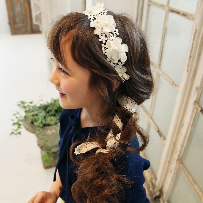 女童超仙花朵蕾絲飄帶髮箍女孩頭飾