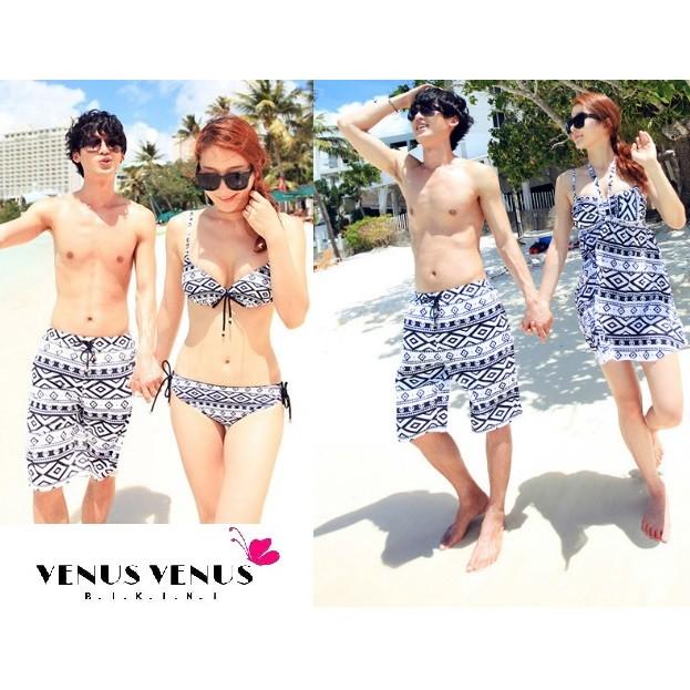 情侶比基尼VENUS 圖騰菱格情侶甜美比基尼泳衣沙灘褲海灘褲泳裝