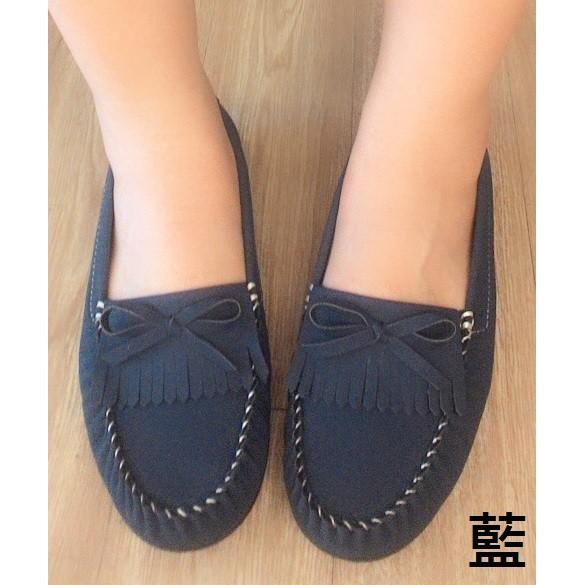 莫卡辛MIT 流蘇蝴蝶結豆豆平底懶人鞋黑白藍Girl 鞋坊~編號2316 ~