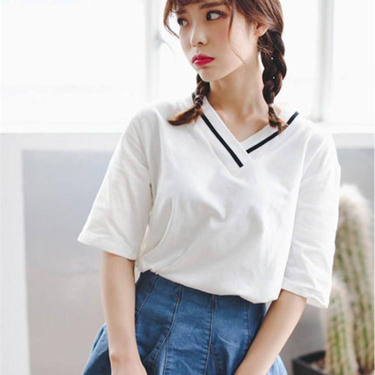 不用等❤實拍可爱寬鬆寬鬆短袖正韓上衣大学T 加大 顯瘦學生女生大碼衣著 时尚潮流 韩系衣服