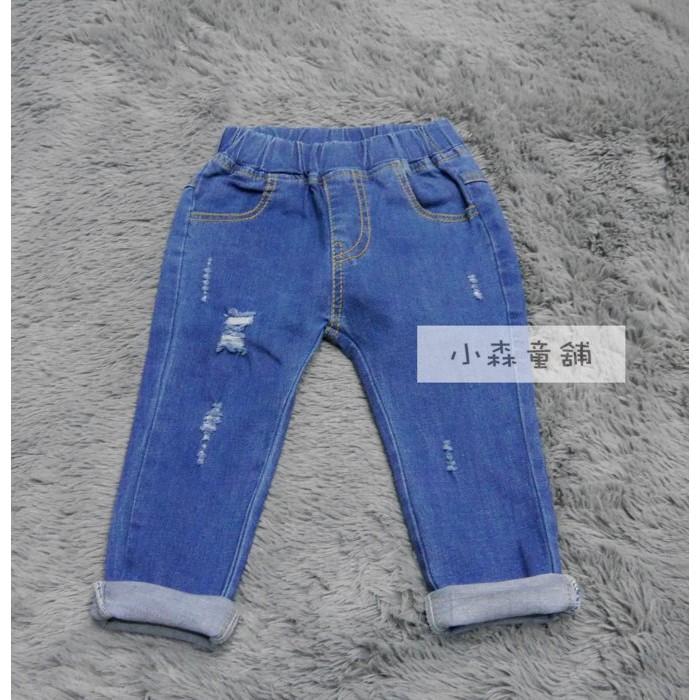小森童舖秋款韓系素面百搭 微刷破彈性牛仔褲長褲藍色男女適穿5 7 9 11 13 15 號