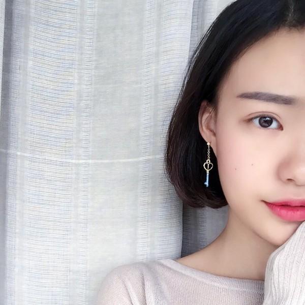PETIT BAZAR 日系少女萌萌的美少女戰士月亮夢幻魔法精致愛心鑽石耳環