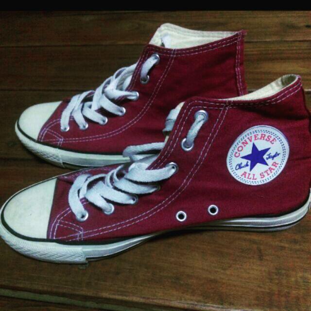 酒紅Converse 高筒帆布鞋
