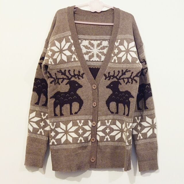 ~私物 ~淺咖啡麋鹿雪花 針織開釦中長款寬鬆毛衣落肩外套