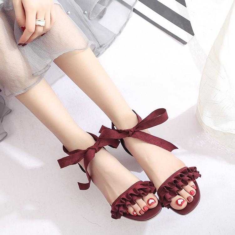 復古風繫帶蝴蝶結羅馬涼鞋純色甜美高跟磨砂皮小皮鞋荷葉邊 女鞋