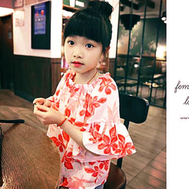 女童短袖2016 夏裝 一字領喇叭袖公主娃娃衫