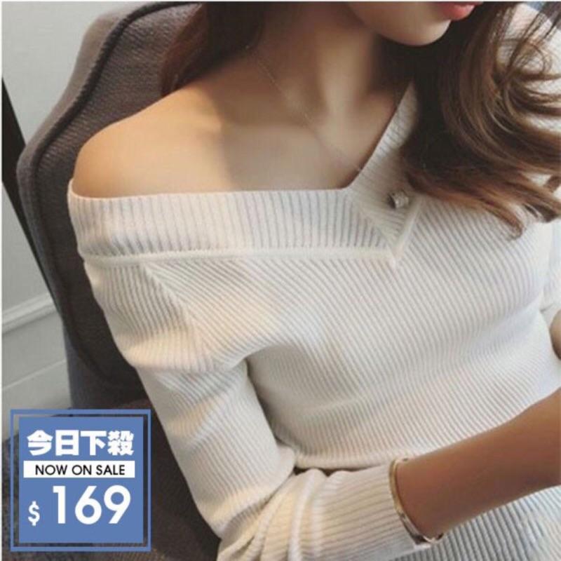 K X store  性感雙V 領彈性針織衫前後V 領針織上衣直條紋顯瘦細針織衫七分袖T