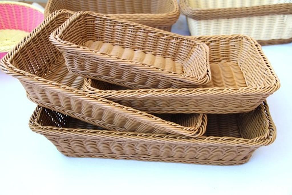 ◕‿◕。巴黎香戀❤1744 藤編麵包籃子麵包筐食品籃水果籃幹果盤果盆果盤長方形水果籃中號