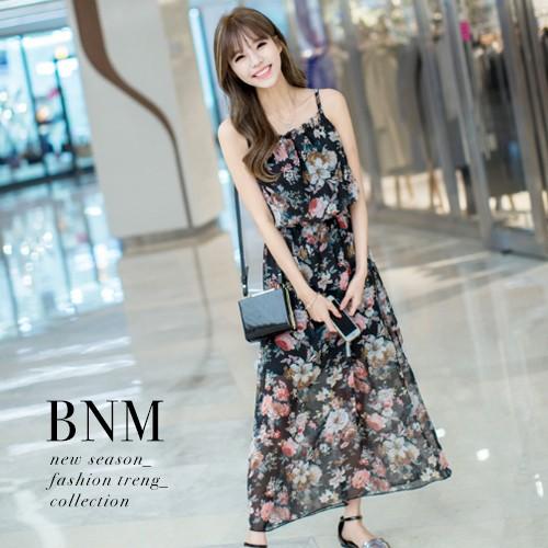 細肩帶長洋裝波希米亞風魅力碎花細肩帶長裙洋裝BNM