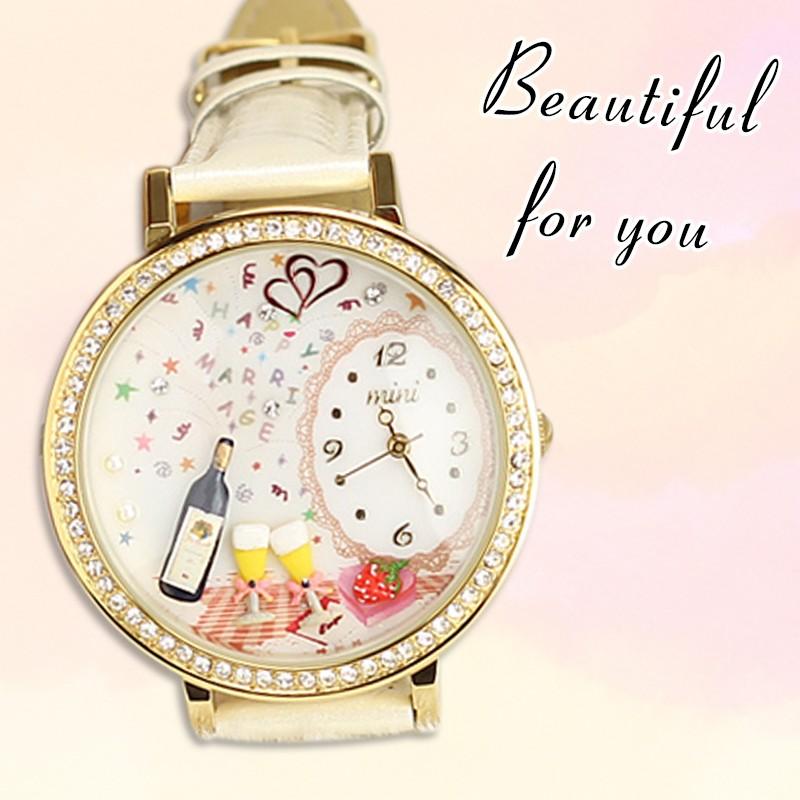 mini 正韓陶土錶粉雕錶韓國100 正品純 立體軟陶錶少女情人節 錶盒~匠子工坊~~UQ