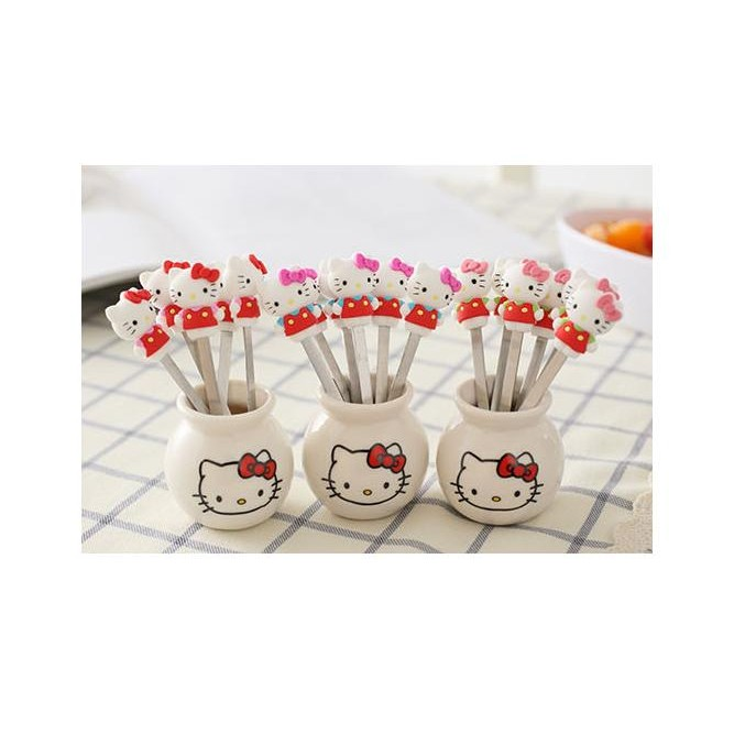 kitty 叮噹水果叉水果簽卡通水果叉蛋糕叉點心叉可愛精美