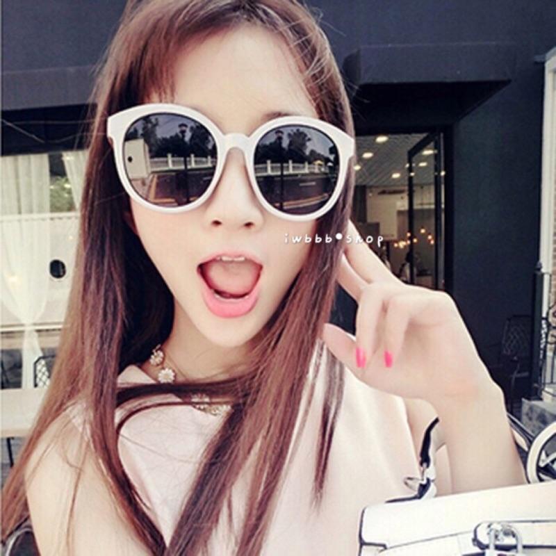 大框太陽眼鏡圓臉墨鏡男女可戴防曬抗UV400 紫外線裝飾潮明星款黑白色百搭款107