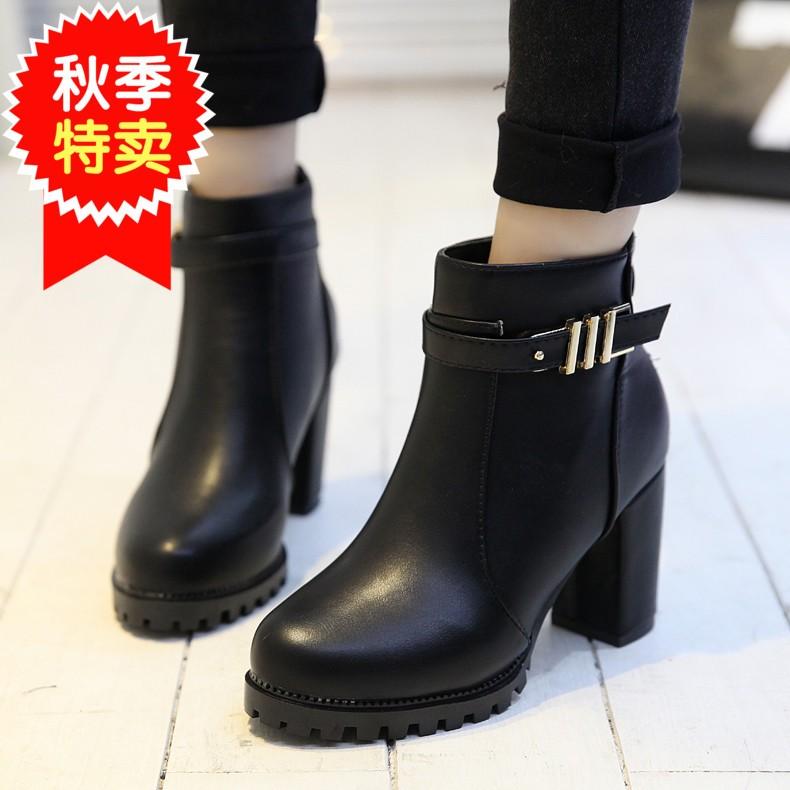 短靴2016 鞋子粗跟馬丁靴女短筒高跟鞋女靴 皮鞋女鞋靴子潮