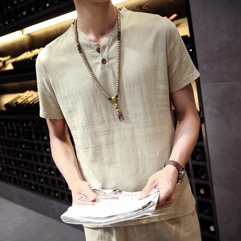 中國風短袖亞麻襯衫男士加肥大碼純色棉麻潮立領寬松 襯衣