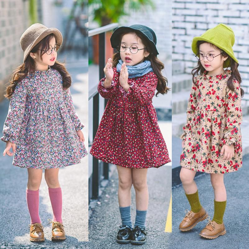 ( )  女童加絨多款碎花氣質長袖洋裝